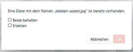 Aktion wenn Dateiname bereits vorhanden