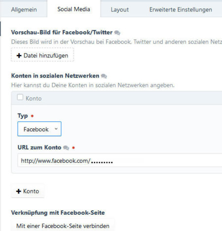 Konfiguration Social Media