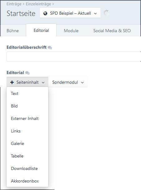 Aufbau des Editorials
