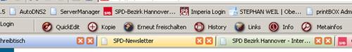 Die geöffnete Toolbar OneClickEdit