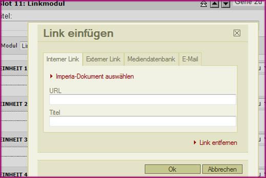 Linkmodul - interne Links