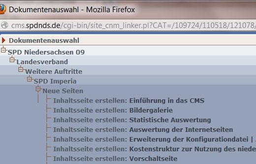 Screenshot Dokumenten-Auswahl