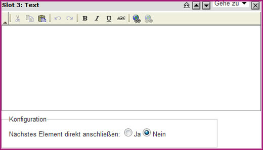Screenshot des Text-Moduls